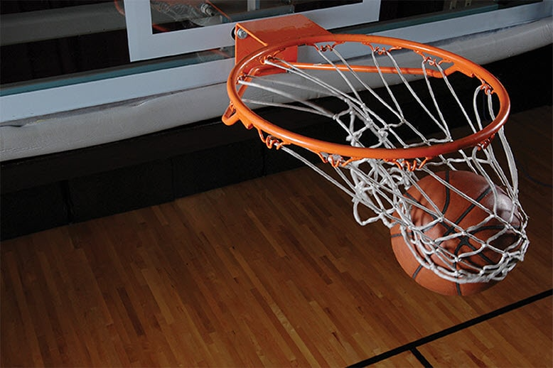 basketball goal and ball going through net