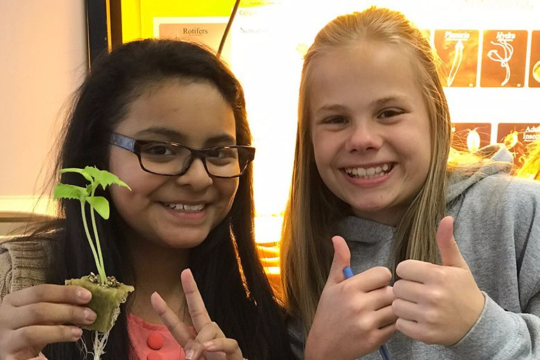 two anwatin female students participate in plant transplant project